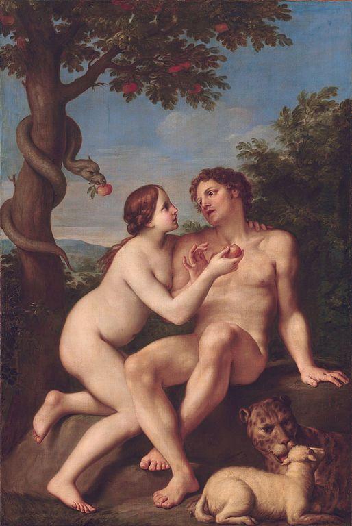 Eva entregando a Adán el fruto del árbol del bien y del mal tras ser persuadida por una serpiente. Pintura de Marcantonio Franceschini.