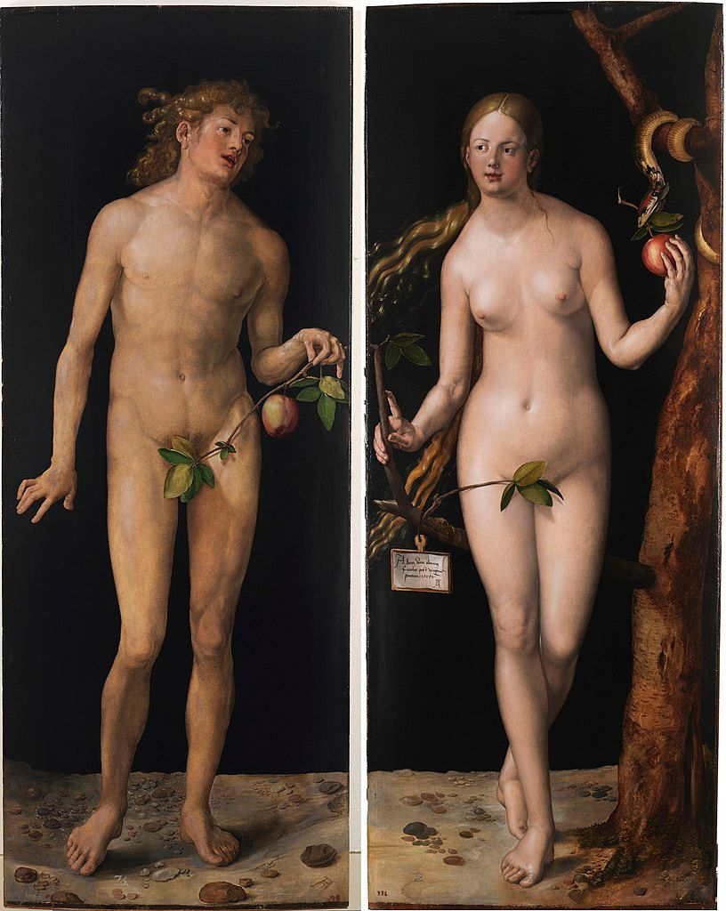 Adán y Eva, pintura de Albertch Dürer, en la que se nota el tratamiento que se daba al mito.