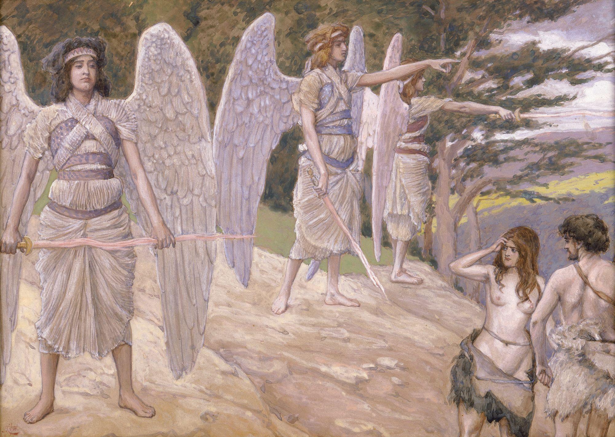 Adan y Eva expulsados del Jardín del Eden  de James Jacques Joseph Tissot. En esta pintura se retrata el momento exacto de la explusión de Adán y Eva del Jardín del Eden