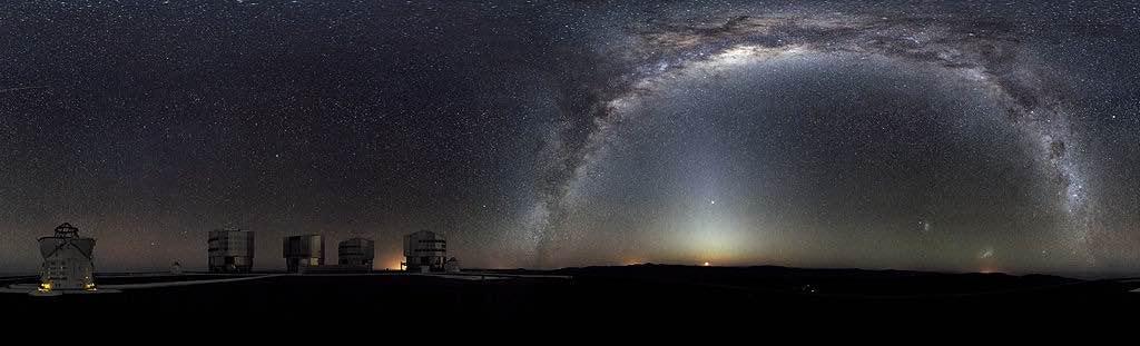 Panorámica nocturna de la Vía Láctea, que muchas veces se asumio como un puente de comunicación entre nuestro mundo y el más allá.