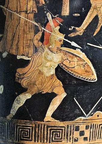 Antigua pintura griega (que data alrededor del año 300 a.C.) de Aquiles que mató al rey etíope Memnon, que luchó como aliado de los troyanos durante la Guerra de Troya.