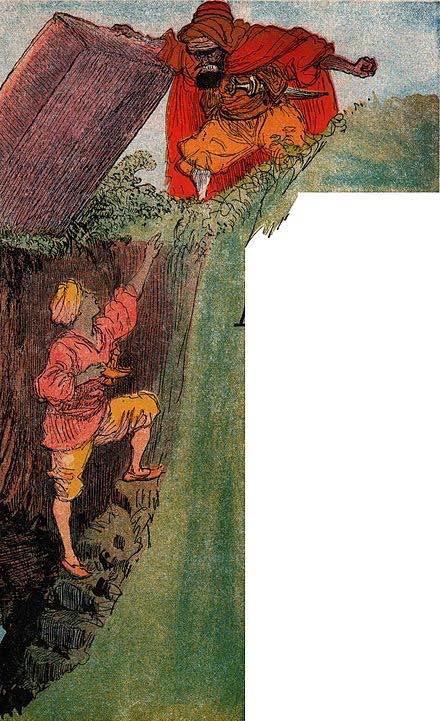 El Hechicero atrapa a Aladino en la cueva mágica. Ilustración de Albert Robira del libro Imagerie merveilleuse de l'Enfance.
