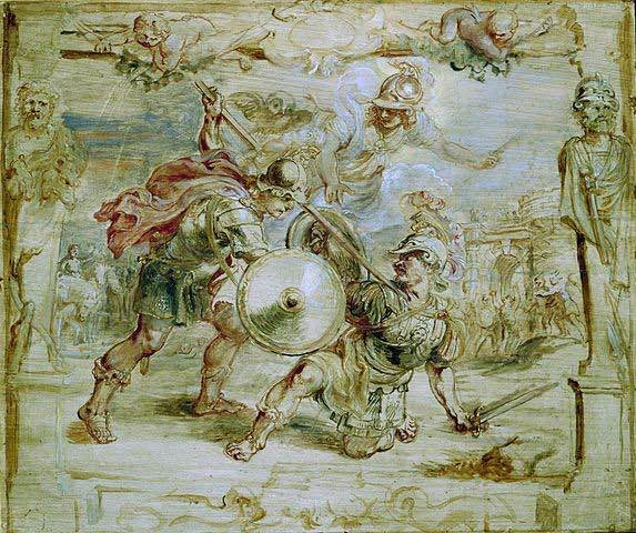 Pintura no acaba en la que se representa la muerte de Hector a manos de Aquiles.