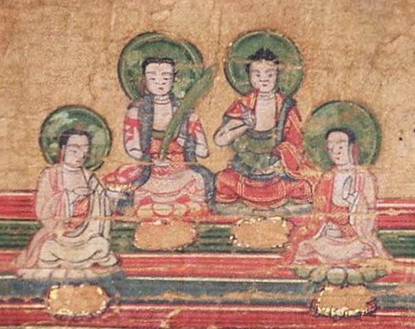 Los cuatro profetas primarios del maniqueismo, en el Diagrama Maniqueo del Universo, de izquierd a derecha Mani, Zoroastro, Buda y Jesús.
