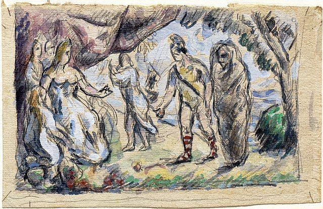 Esta pintura de Cézanne retrata el momento en que Eneas conoce a Dido en Cártago.