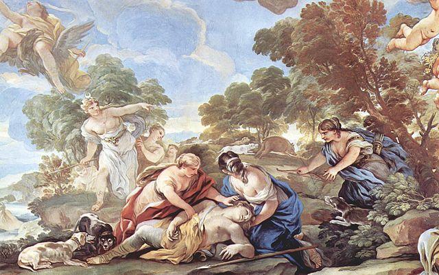 Pintura de Luca Giordano en la que se representa la muerte de Adonis.