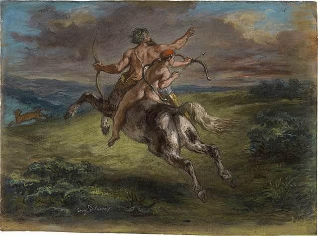 Pintura de Eugène Delacroix, en la que podemos ver a un joven Aquiles sobre los lomos del centauro Quirón.