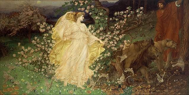Venus y Anquises pintura de William Blake Richmond. En la que se nos muestra el encuentro nocturno de Venus y  el pastor troyano Anquises, fruto de esta unión nacio el héroe Eneas.