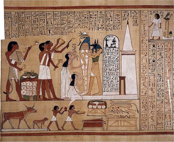 """Representación del ritual de """"apertura de la boca"""" a una momia egipcia en la tumba"""