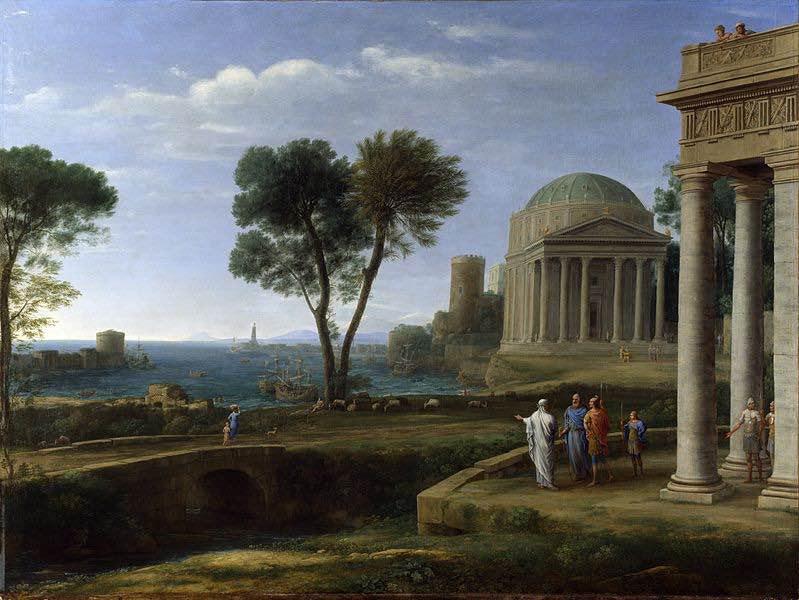 En esta pintura se puede ver a Eneas (de rojo) junto con Anquises (de azul) y su hijo en la isla de Delos. Vía Wikimedia Commons.
