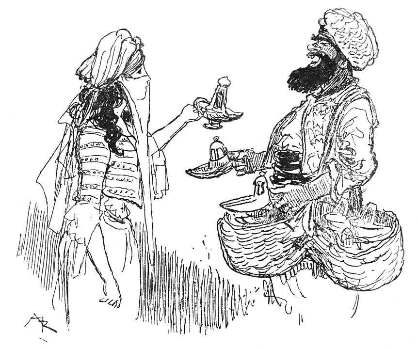 El hechicero engaña a la esposa de Aladino, ofreciéndole cambiar una lampara vieja, por una nueva