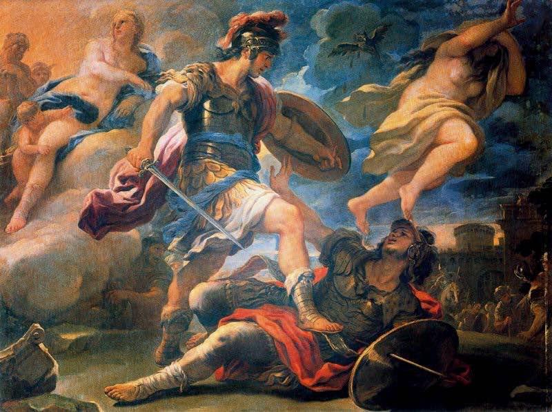 En esta pintura se puede observar la derrota de Turno a manos de Eneas.