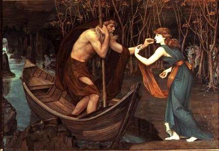 """Pintura en la que se observa a Psique """"pagando"""" el paso por el río Aqueronte al barquero del inframundo Carón"""