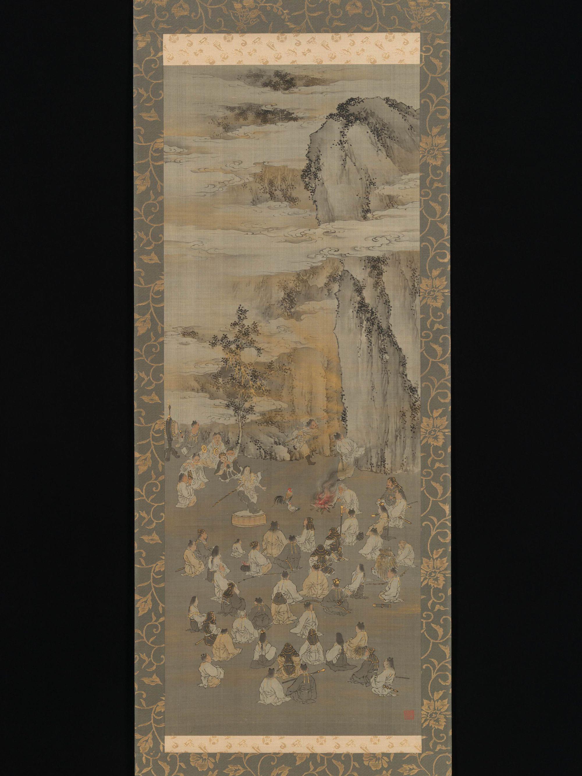 Atrayendo a la Diosa del Sol Amaterasu fuera de una cueva. Pintura de Koino Baire correspondiente al periodo Meiji.