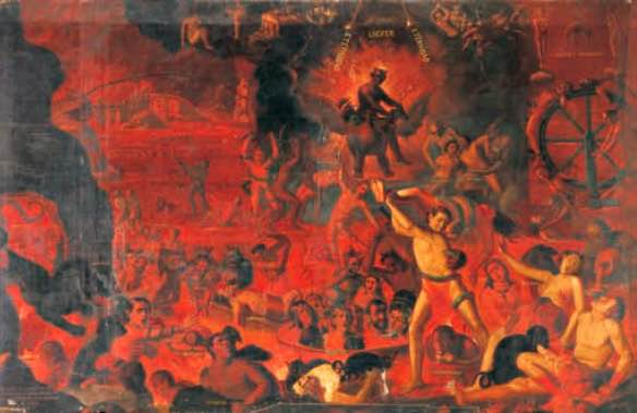 Representación del infierno en una pintura atribuida a Alejandro Salas y disponible en la Iglesia de la Compañia en la ciudad de Quito