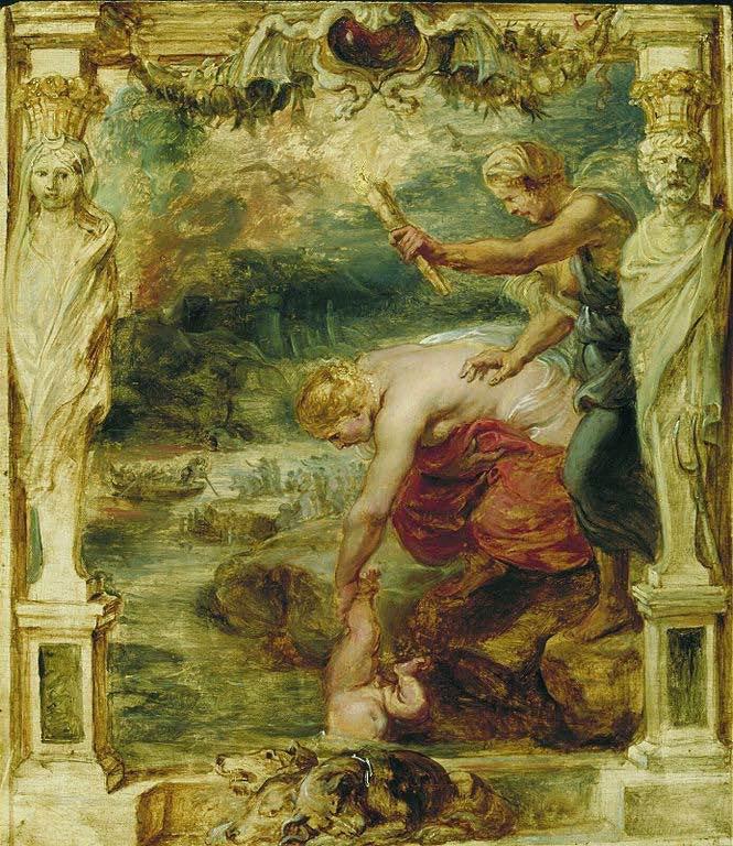 La diosa Tetis sumerge al pequeño Aquiles en el río Estigia, que atraviesa el Hades. En el fondo, el barquero Caronte puede ser visto llevando a los muertos a través del río en su bote. La escena fue pintada por Peter Paul Rubens alrededor de 1630/1635 como parte de la serie de Aquiles.