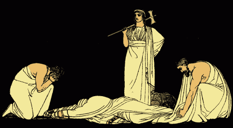 El asesinato de Agamenón, ilustración de 1879 para las Stories from the Greek Tragedians de Alfred Church.