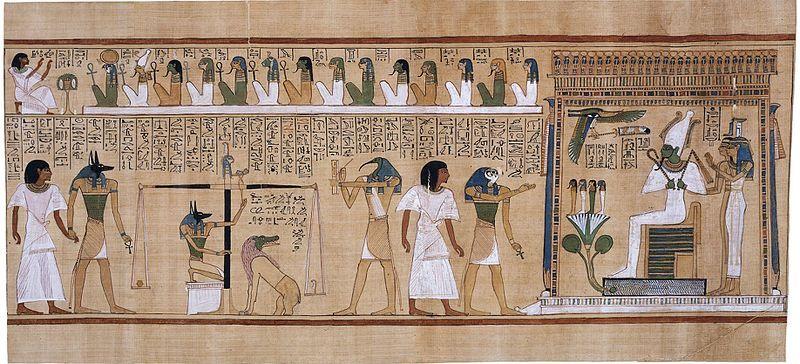 Escena en la que se muestra el juicio que segun los egipcios se producia tras la muerte.