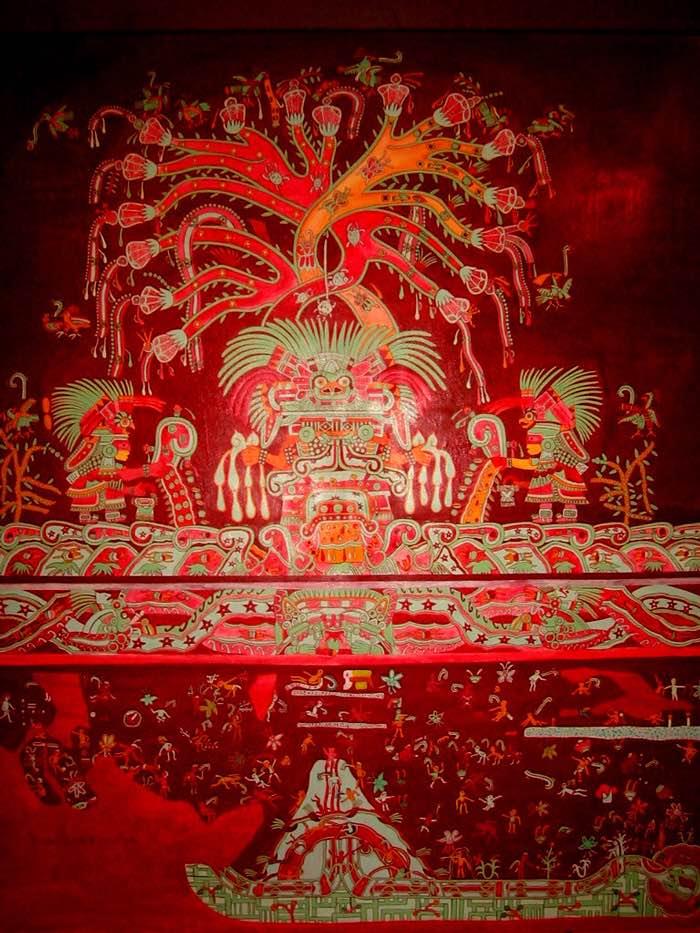 Mural que representa el Tlaloclan el paraíso que la deidad Tlaloc tenía reservado para aquellas victimas de ahogamiento o enfermedades relacionadas con la lluvia