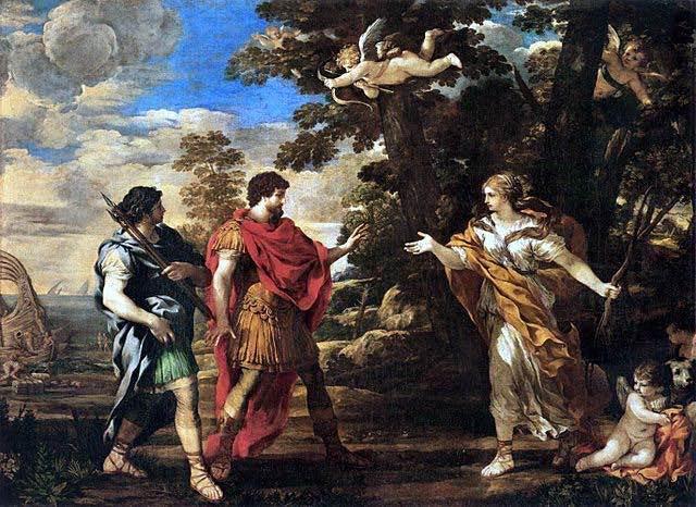 La diosa Venus, la madre de Eneas, se le apareció dos veces, la primera en medio de la Troya ardiente, para pedirle que se pusiera en camino. Más tarde, cuando los troyanos fueron arrastrados a la orilla cerca de Cartago después de la tormenta en el mar, Eneas y su amigo Acates se dispusieron a explorar. Venus apareció una vez más, esta vez con arco y carcaj, disfrazada de cazadora, para dirigirlos al palacio de Dido. Pietro da Cortona represento esta segunda aparición en esta pintura.