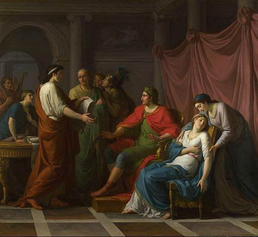 Pintura de Jean-Joseph Taillasson que muestra a Virgilio leyendo su obra a Augusto y Octavia