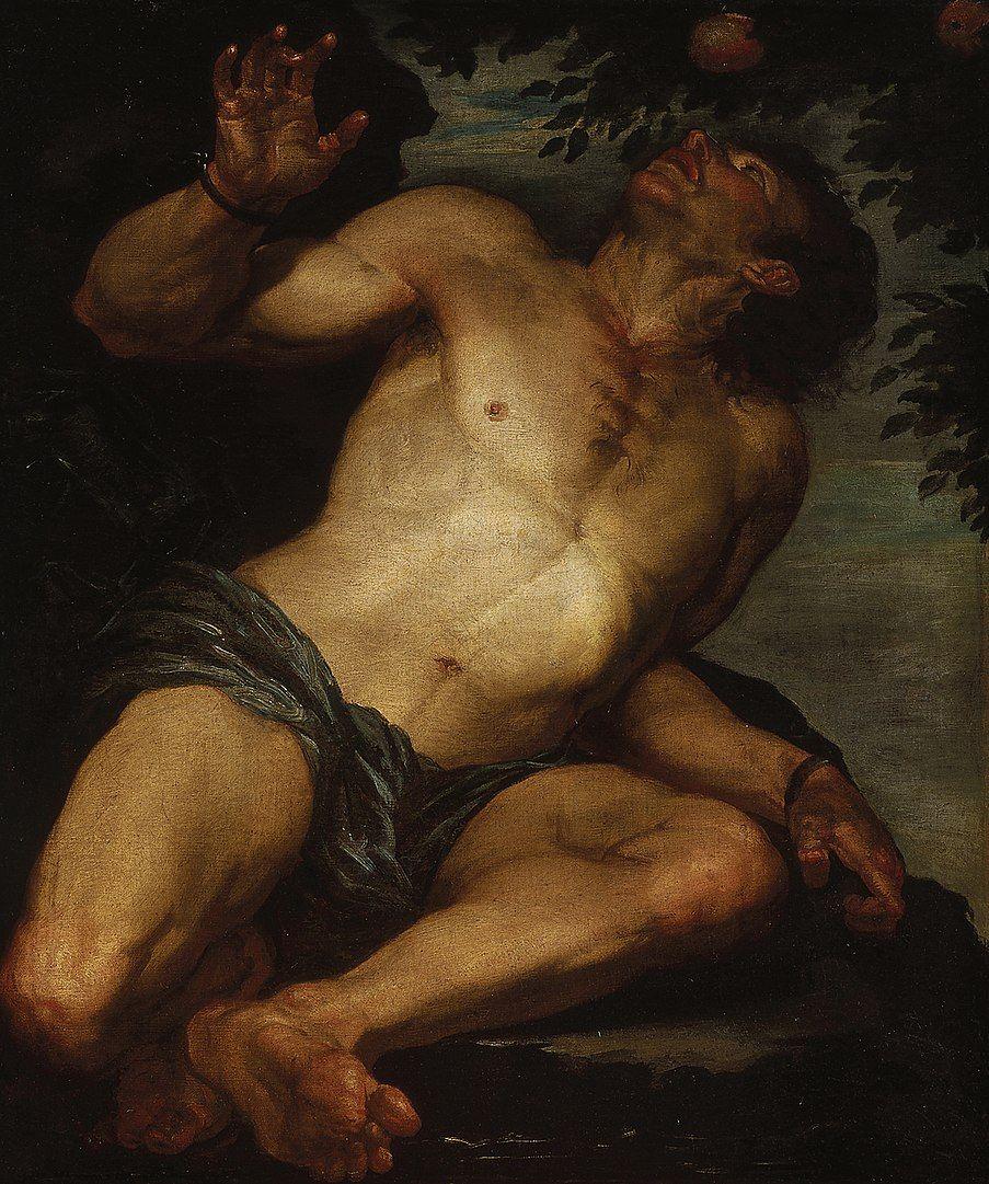 Tántalo en una pintura de Gioacchino Assereto.