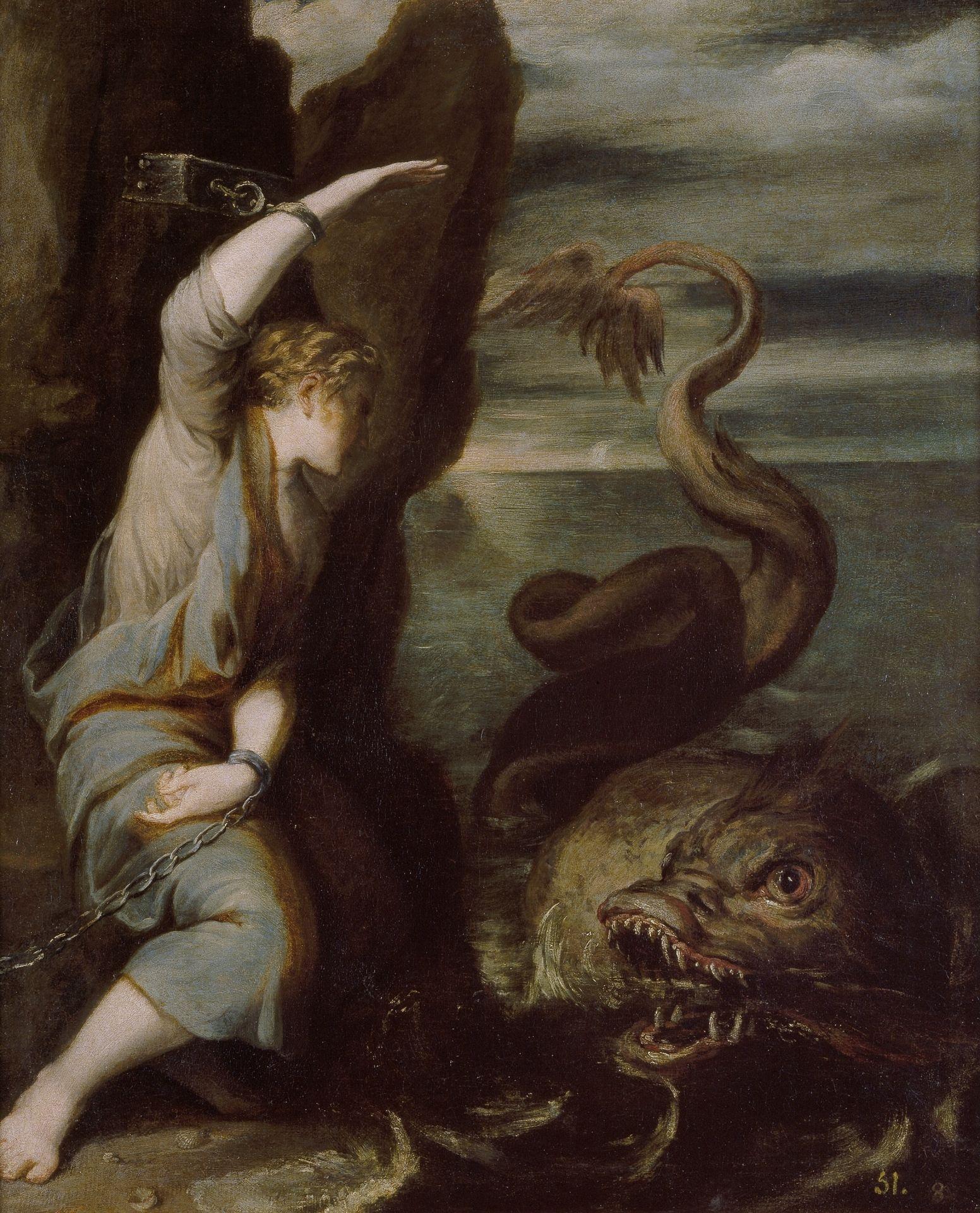 Imagen de Andromeda atada a un acantilado del que sería rescatada por Perseo su futuro esposo
