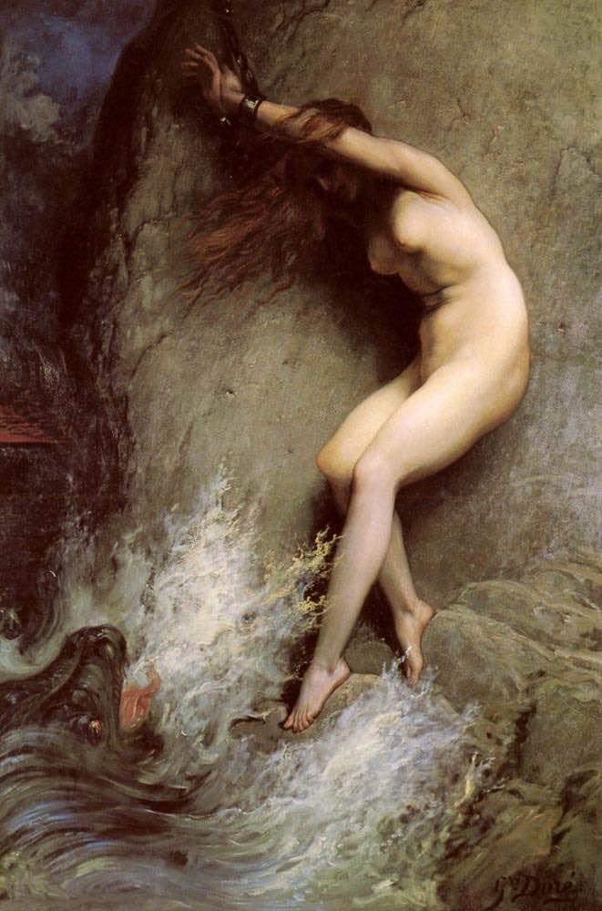 Andromeda encadenada en una roca de Gustave Doré