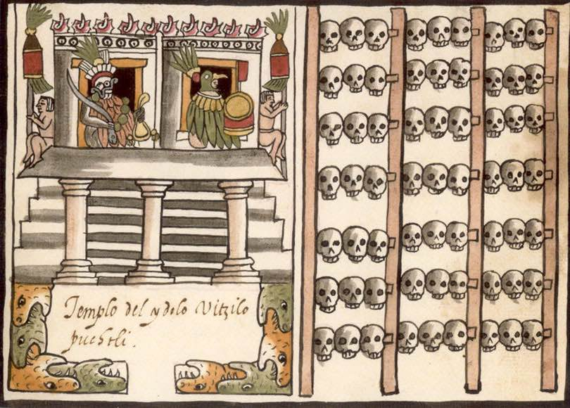 Gráfico del tzompatli en el templo mayor de Tecnotitlan en el códice Ramirez.