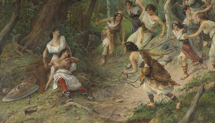 Pintura de Věnceslav Černý en la que se puede a las míticas guerreras eslavas