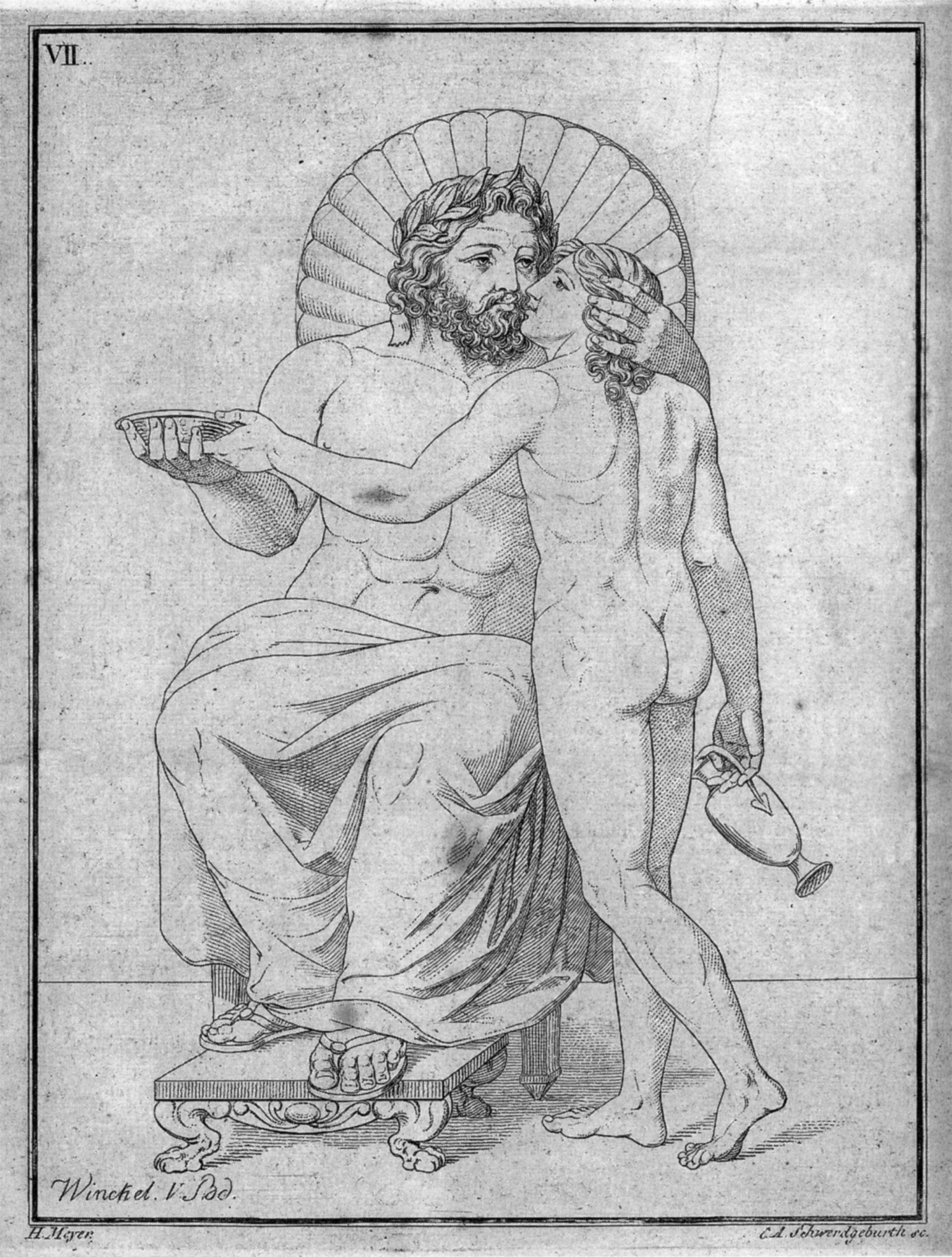 Ilustración hecha a partir de un grabado en cobre en la que se puede ver a Zeus acompañado de Ganimedes el copero de los dioses.