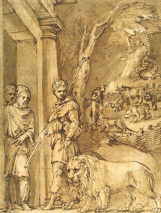 Dibujo que retrata a Androcles acompañado por el león al que había ayudado, realizado por Baldassare Peruzzi.