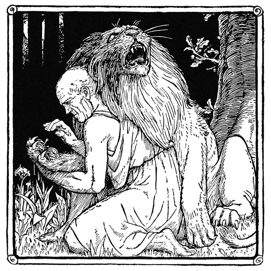 Ilustración de Androcles retirando al espina de la pata del leon, realizada por John Dickson Batten para el libro Europa's fairy book de Jacobs, Joseph