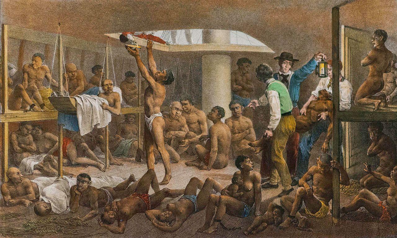 Pintura de Johann Moritz Rugendas que representa el interior de una navio negero, el comercio de esclavos permitió una amplia transmisión de diversos mitos y leyendas africanas en diversos países de las Américas, siendo uno de los casos más llamativos el de Haiti.