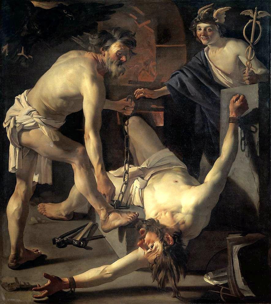 Prometeo encadenado por Vulcano. Pintura de Dirck van Barburen. Vía Wikimedia Commons.