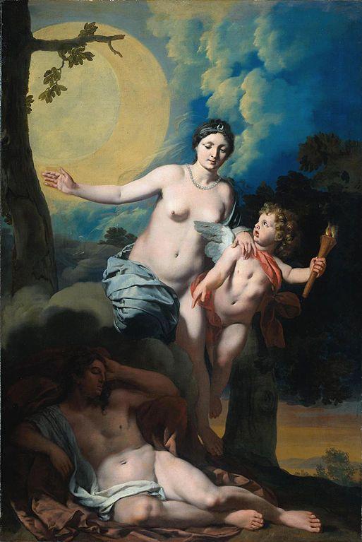 Selene y Endimión, acompañados por cupido, en una pintura de Gérard de Lairesse. Vía Wikimedia Commons.