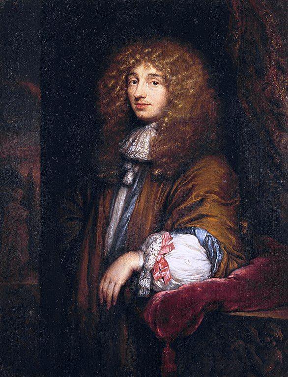Christiaan Huygens descubridor de la luna Titán. Pintura realizada por Caspar Netscher en 1671. Vía Wikimedia Commons.