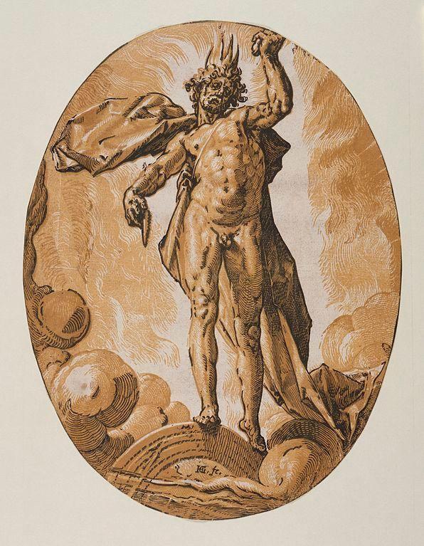 Representación de Helios según un grabado de madera