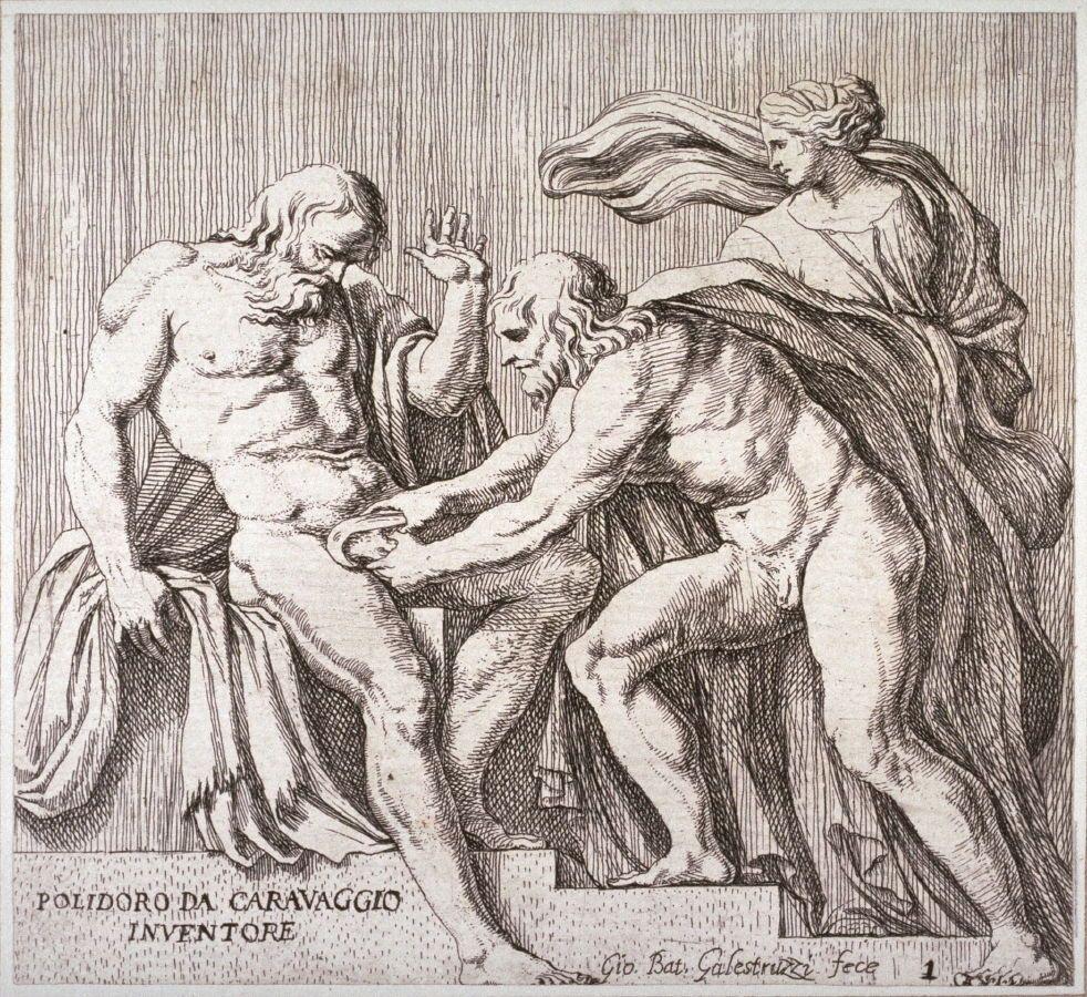 La castración de Urano, de una serie de estudios acerca de la la historia de roma desarrollada como un fresco  por Polidoro de Caravagio en la fachada del Palazzo Milesi en Roma.