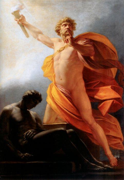 Prometeo entrega el fuego a la humanidad. Pintura de Heinrich Füger. Vía Wikimedia Commons.