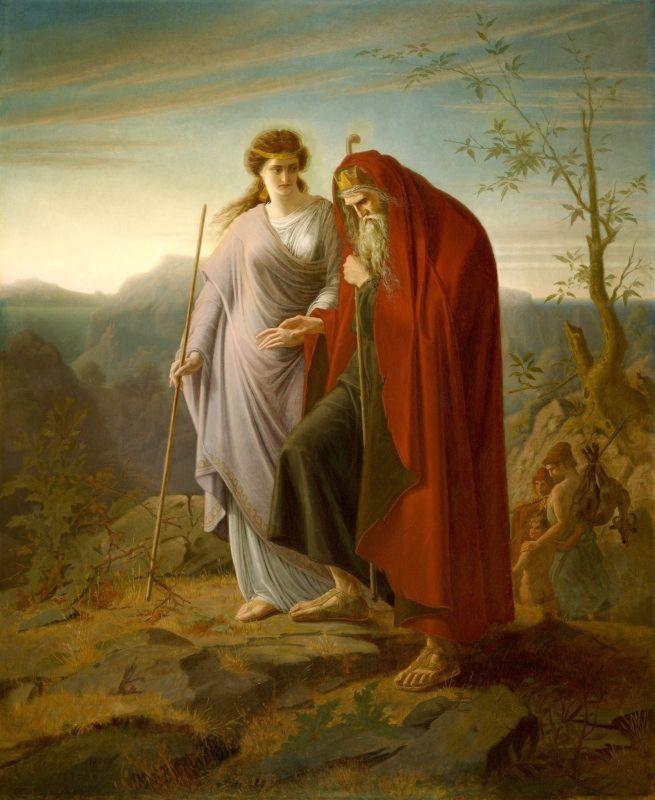 Antigona y Edipo en una pintura de Franz Dietrich