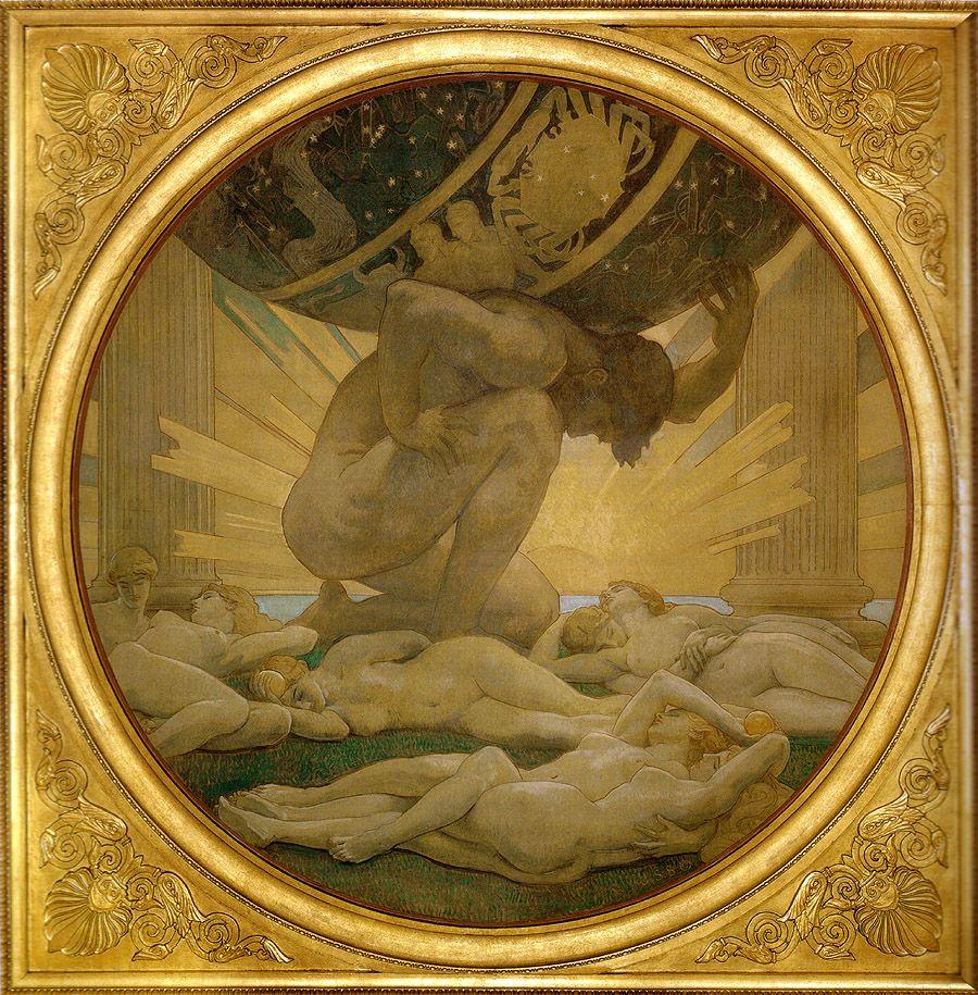 Atlas y las Hespérides. Pintura de John Singer Sargent. Vía Wikimedia Commons.