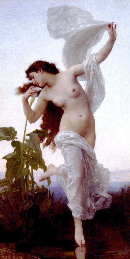 "Eos en un cuadro titulado ""La Aurora"" del pintor francés William-Adolphe Bouguereau. Vía Wikimedia Commons."