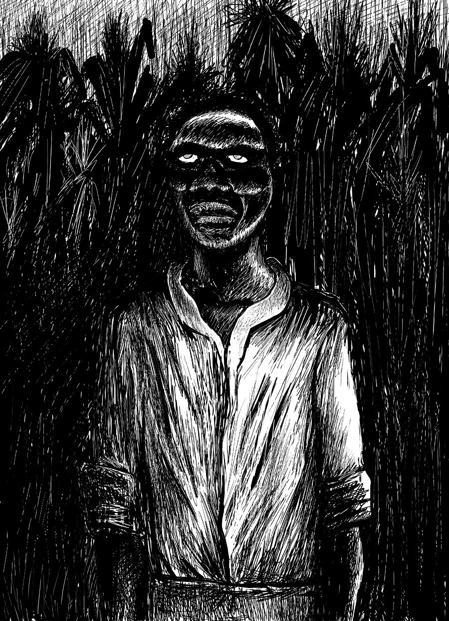 Representación de un zombi vudú entre cañas de azúcar. Vía Wikimedia Commons.