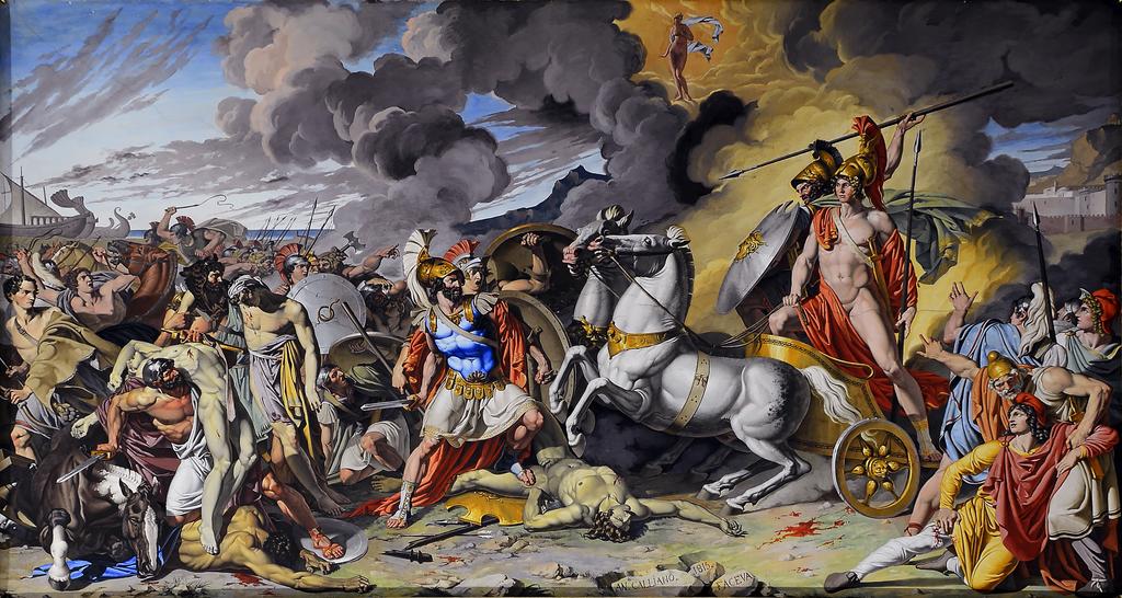 Cuadro de Antonio Raffaele Calliano, que retrata el momento en que Aquiles en su carroza, lleva el cuerpo de Hector asesinado, tras el héroe en su carro se puede observar al dios Ares, dios de la guerra violenta según los antiguos griegos.