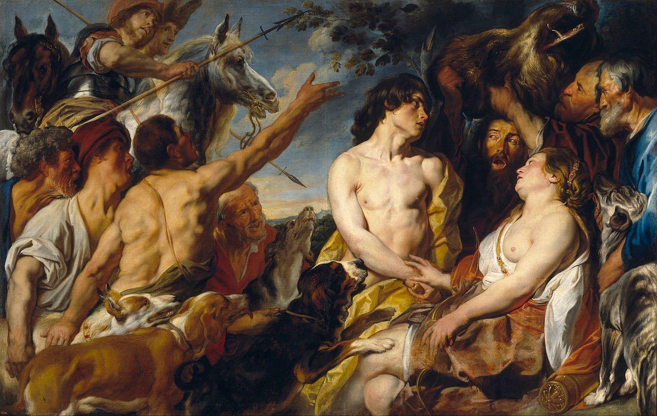 Meleagro y Atalanta en un óleo de Jakob Jordaens. Disponible en el Museo del Prado en Madrid.