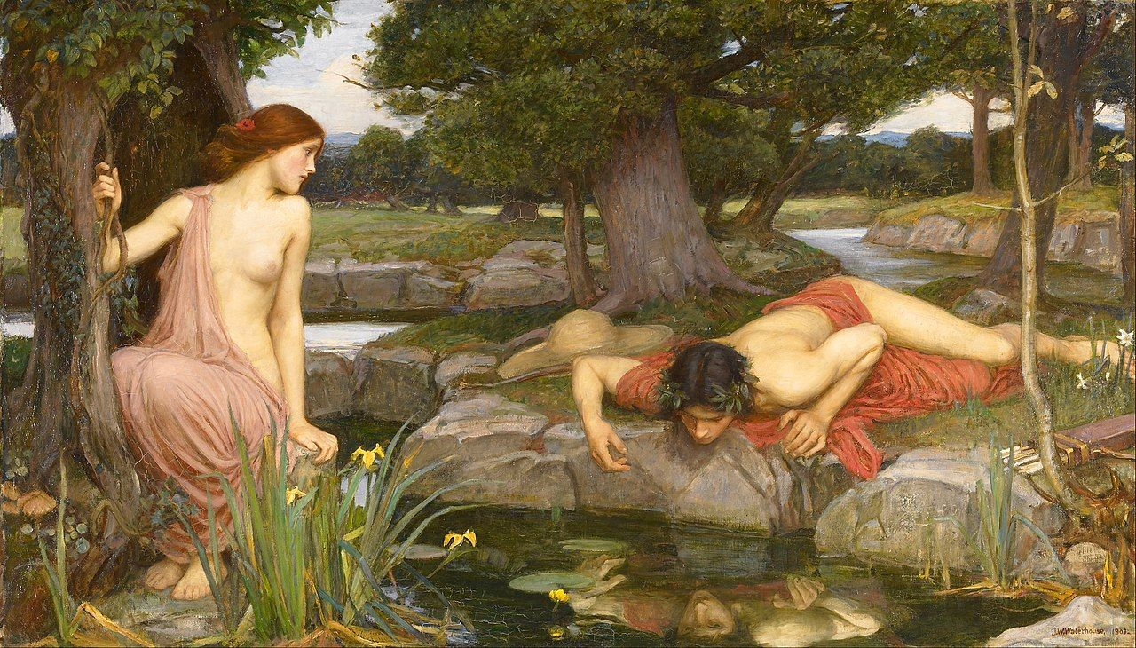 Eco y Narciso en una pintura de John William Waterhouse.
