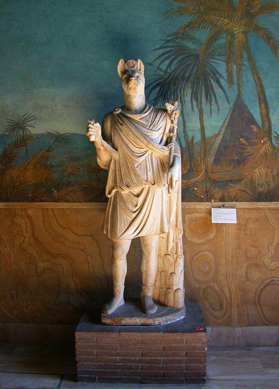 Los griegos y romanos adoraban también a Anubis, al que fusionaron con el dios Hermes, en la figura de Hermanubis. Imagen vía Wikimedia Commons.