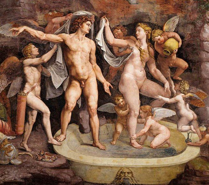 Venus y Marte (Ares y Afrodita) tomando un baño. Pintura de Giulio Romano. Vía Wikimedia Commons.
