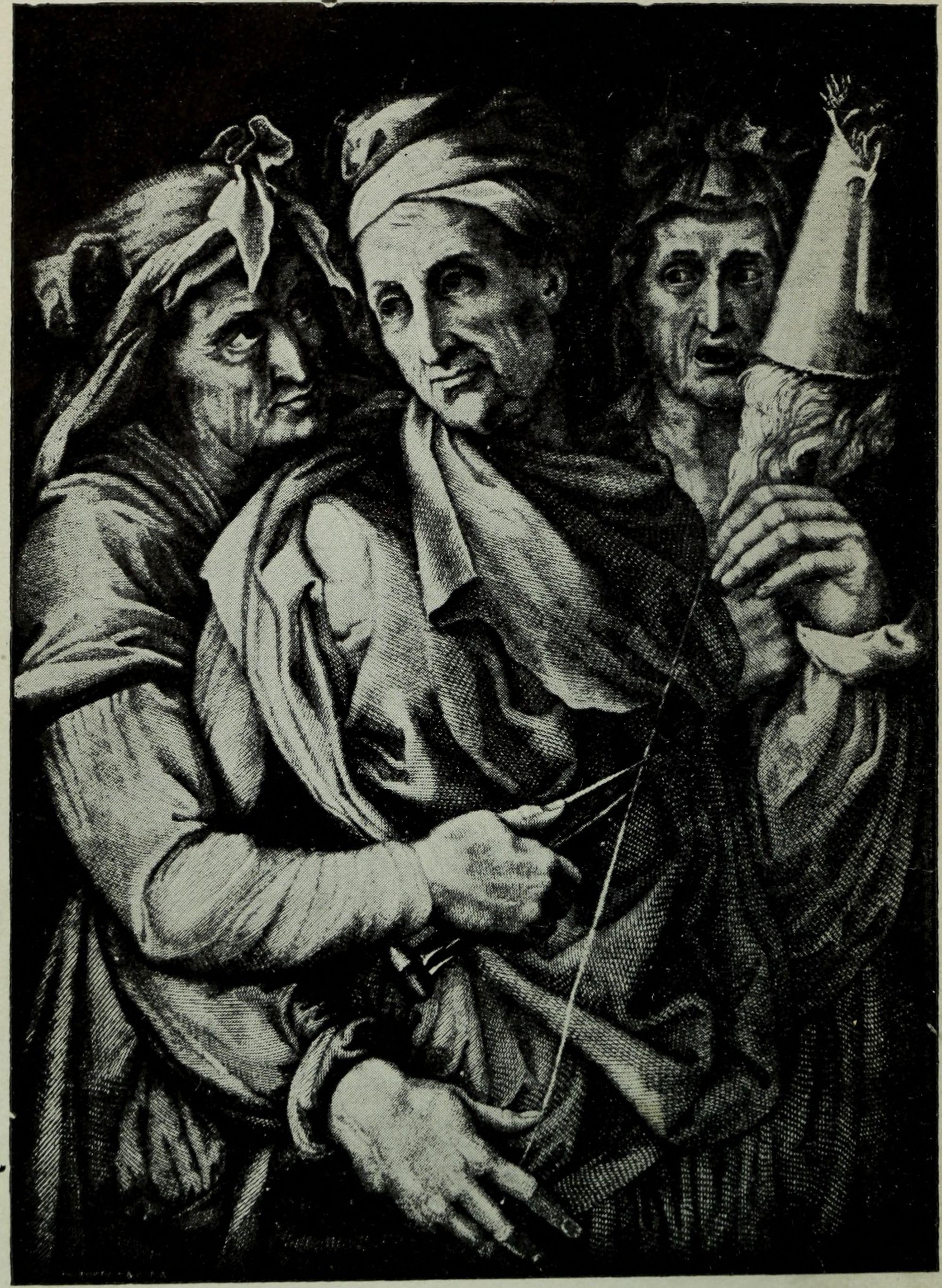 Las Moiras como aparecen en la versión ilustrada de la Eneida publicada por la Universidad de Toronto en 1888